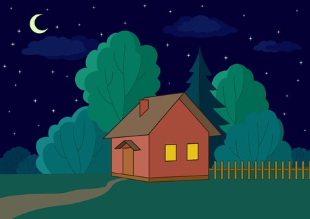 refuge: Landscape, vector: country house on night forest