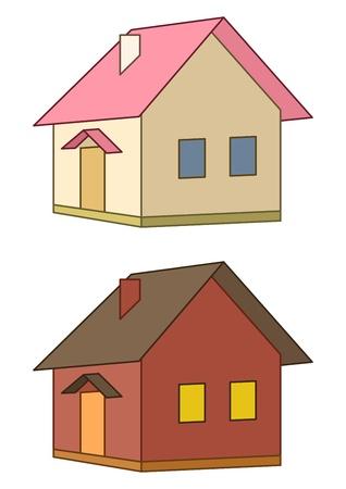 datcha: Maisons : deux toy pays b�timents, vecteur, isol�s