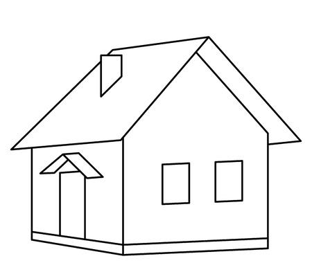Casa país pueblecito, contornos monocromos, aislado