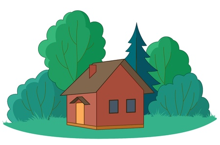 coppice: House on forest glade with trees, vector, isolated