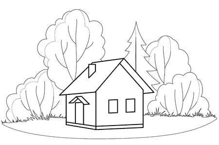 House on forest glade with trees, vector, isolated, contours