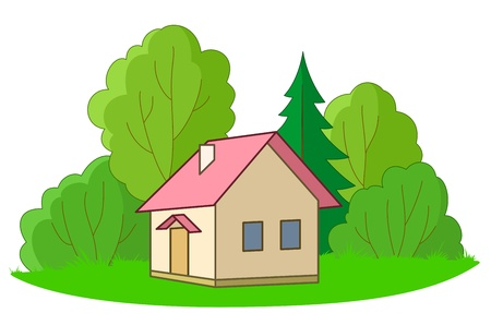 House on forest glade with trees, vector, isolated Vector
