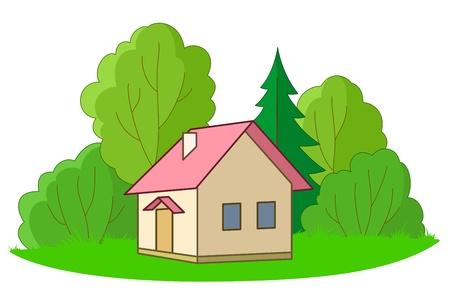 datcha: Maison de la for�t glade avec des arbres, vecteur, isol� Illustration