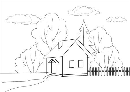 datcha: Paysage d'�t�: maison petit jouet sur un bord du bois, les contours