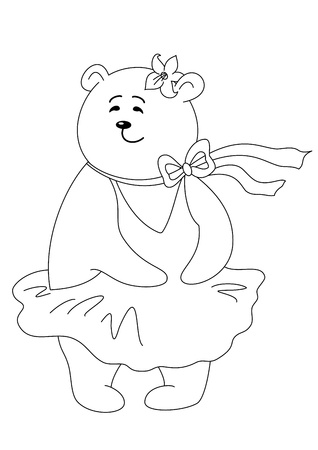 Teddy-bear Marylin Monroe in the dress inflated by a wind, contours Vector