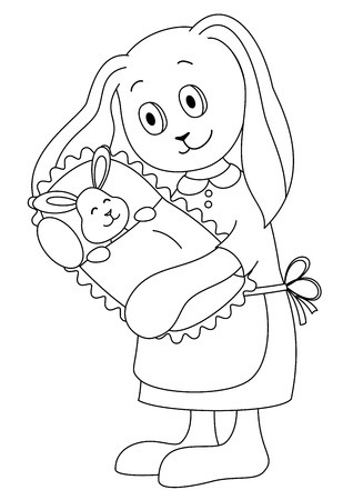 Rabbit mother holds on hands of a little hare-child. Picture about love and motherhood. Contours Vector