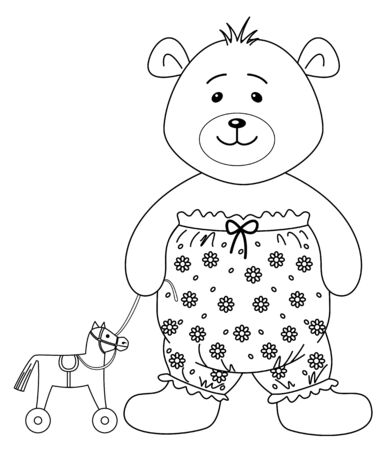 Teddy-bear in the clothes decorated with flowers and toy horsy, contours Stock Vector - 9289126