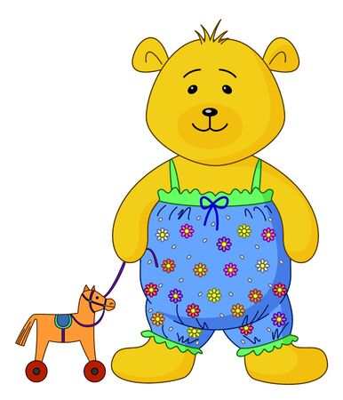 The teddy-bear in the clothes decorated with flowers plays with a toy horsy Vector
