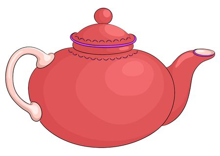 1 object: China round red teapot with the white handle