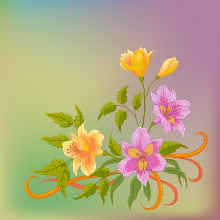 Flower vector background, alstroemeria flowers and leaves