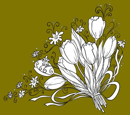 Flowers tulips, holiday bouquet, vector, monochrome contour Vector