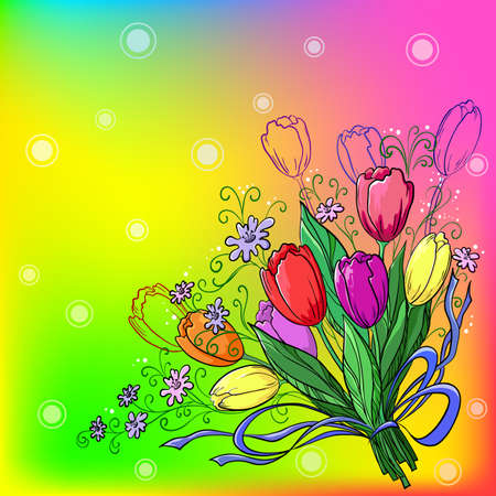 Flowers tulips, holiday bouquet on a beautiful colour background photo