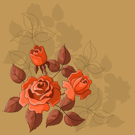Flower beautiful vector background, roses, flowers and leaves