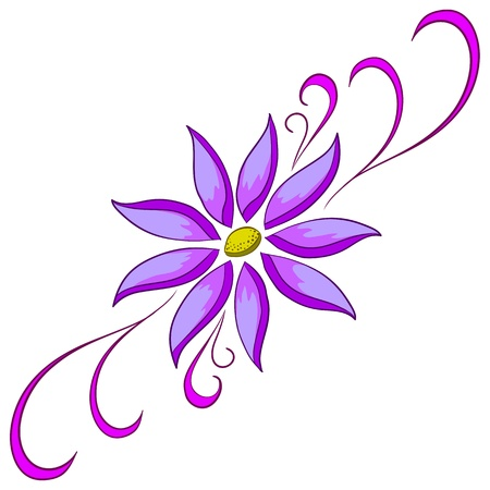 Abstract vector symbolical lilac flower on a white background