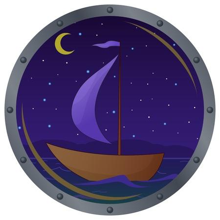 ventana ojo de buey: Portillo de ventana con el barco flotando en el mar en la noche de Luna Vectores
