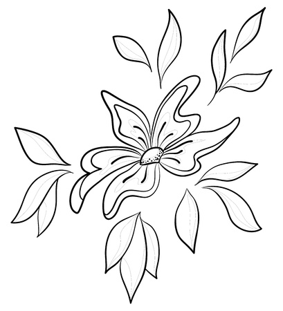 Abstract vector symbolical flower, monochrome contours, isolated Stock Vector - 9345312