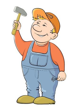 obrero: Hombre trabajador en una gorra y un uniforme martillos en un clavo, vector