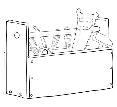 tongs: Caja de madera con herramientas, vector, contornos de funcionamiento