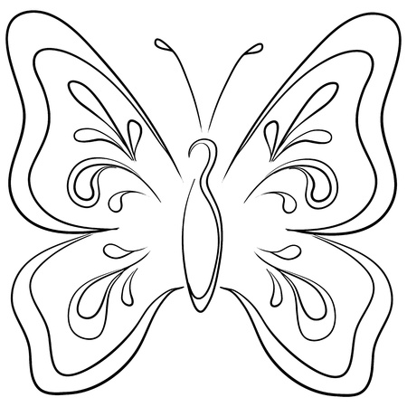 Symbolical butterfly with opened wings, monochrome contours Stock Vector - 9380032