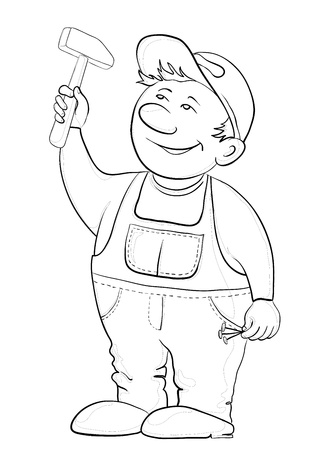 cartoon carpenter: Man the worker in a cap and a uniform hammers in a nail, vector, contours Illustration