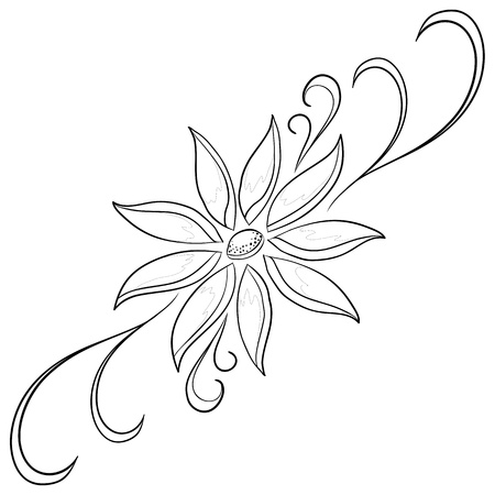 Abstract vector symbolical flower, monochrome contours, isolated Vector