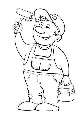 craftsmen: Lavoro casa pittore vernici, in le mani a esso, lo strumento e un secchio con una vernice, contorno Vettoriali