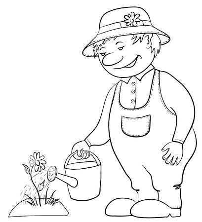 Hombre de aguas de jardinero una cama con una flor de una regadera, contorno