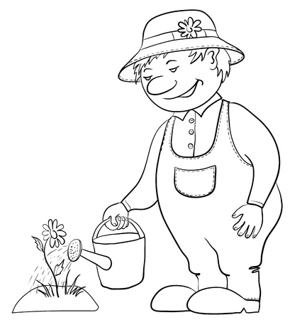 Man gardener waters a bed with a flower from a watering can, contour Vector