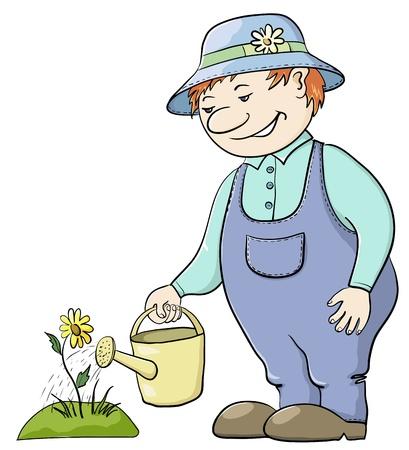Jardinero de hombre aguas una cama con una flor de una regadera Ilustración de vector