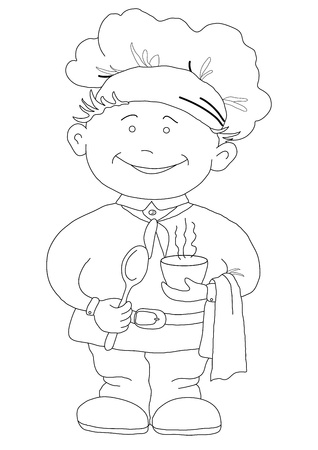 Cook, restaurant chef with a hat on a head, with cup of drink, contour Vector