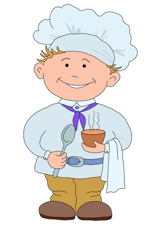 prepare: Cook, restaurant chef with a hat on a head, with cup of drink
