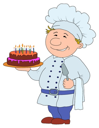 Cook with pie, restaurant waiter with cake, funny character Vector