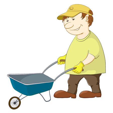 Operaio uomo rotoli una carriola vuota, vettore, isolato