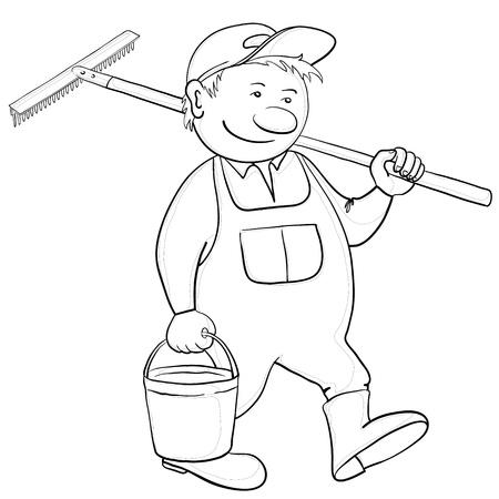 Man gardener with a bucket and a shovel goes to work in a garden, contour Vector