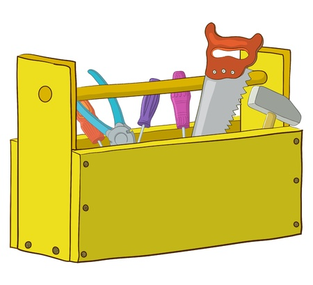 cartoon carpenter: Wooden box with operating tools, Isolated, vector Illustration