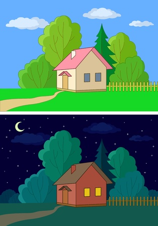night and day: Landscape, vector, country houses on forest edge, day and night Illustration