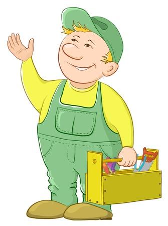 craftsmen: Lavoratore uomo in un cappello e una divisa con una cassetta degli attrezzi, vettore
