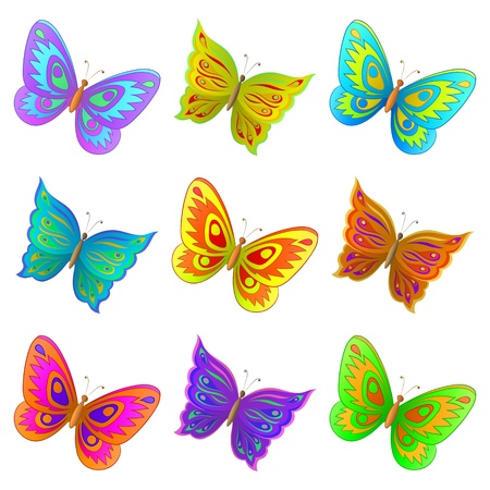 Vector, set from nine various color flying butterflies Stock Vector - 9447463