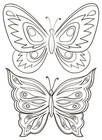 Vector, two butterflies, monochrome contours on a white background Stock Vector - 9447457