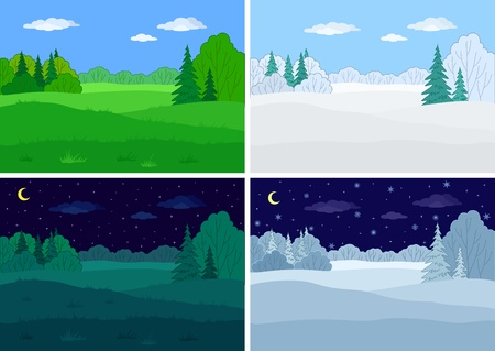 Landscape, forest, set vectors: winter and summer, night and day
