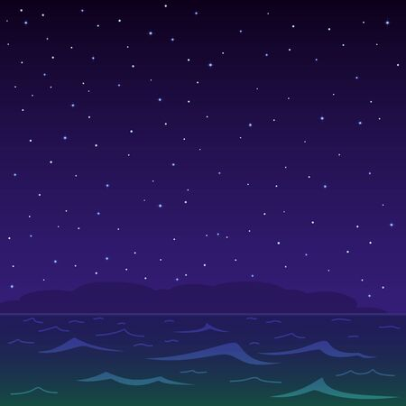 natural landscape, the night sea and the star sky Stock Vector - 9501298