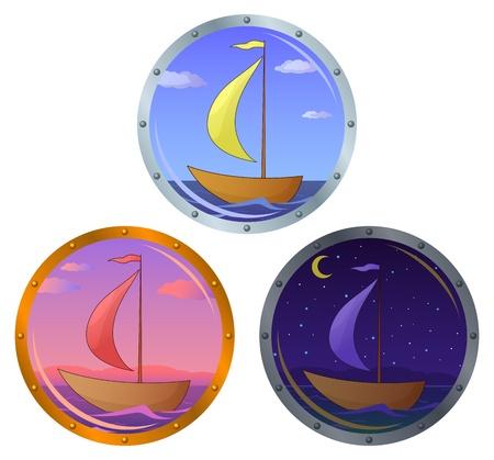 ventana ojo de buey: Portillo de ventana con el barco flotando en el mar: ma�ana, d�a y noche Vectores