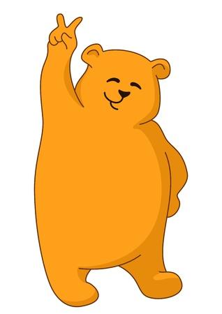 teddy bear: Ours en peluche permanent et montrant le signe de la victoire