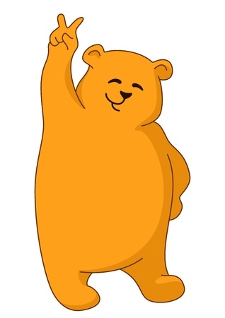 Teddy bear standing and showing victory sign