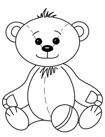 teddy bear: Beb� de osito de juguete sonriente, feliz juego con pelota, contornos