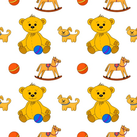 Vector naadloze achtergrond, speelgoed: teddy beer met bal, hond en horsy