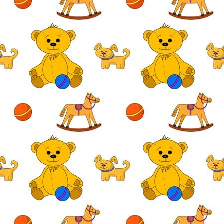 Vector seamless background, toys: teddy bear with ball, dog and horsy