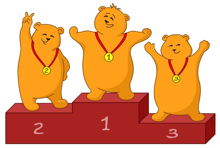 Sports picture: teddy bears sportsmans stand on a podium Vector