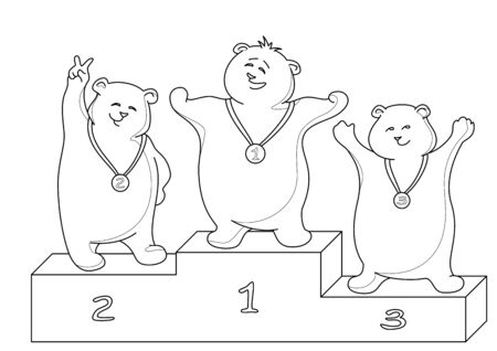 Sports vector: teddy bears sportsmans stand on a podium, contours Vector