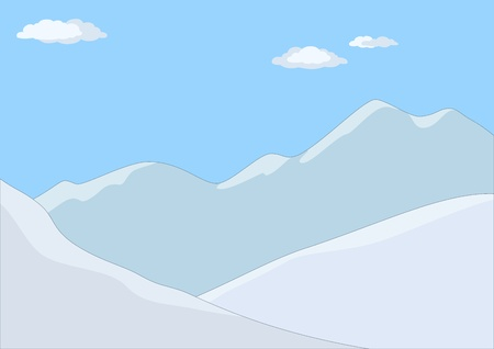 mountain top: Landscape: the mountains covered with snow, the blue sky and white clouds